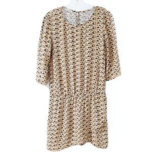 PROMOD 3/4 Sleeve Bird Print Dress